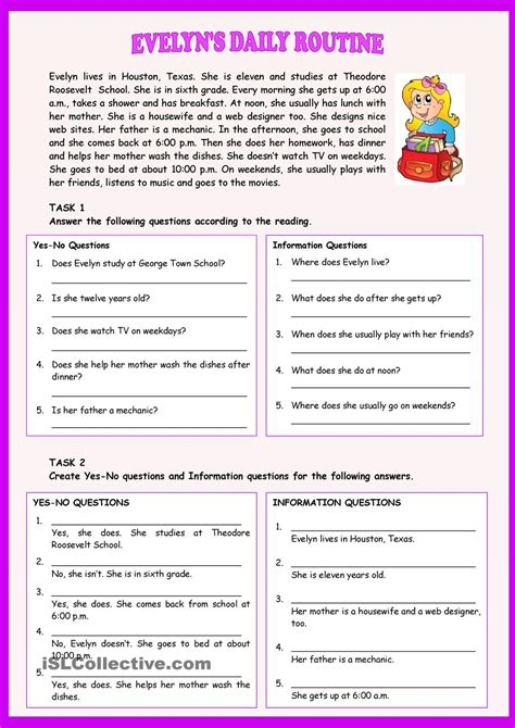Esl Reading And Writing Worksheets by Evelyns Daily Routine Present Simple