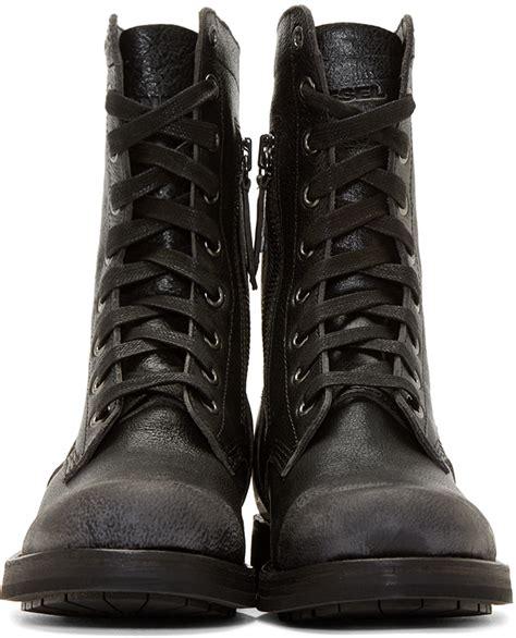 mens diesel boots diesel black leather d komtop combat boots in black for