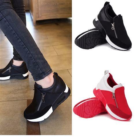Sepatu Wanita C H X N E L Amanda 0366 11 wanita sepatu kets sepatu olahraga hak ritsleting baji tersembunyi lazada indonesia