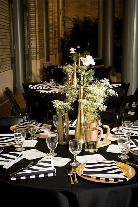 black white and gold centerpieces for wedding modern white black and gold wedding every last detail