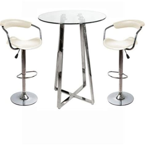 Glass Breakfast Bar Table Nerix Glass Top Poseur Table And Cont Padded Stools Kitchen Breakfast Bar Stools