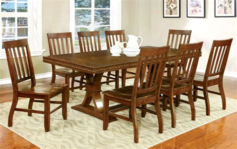 foster i oak rectangular extendable trestle dining