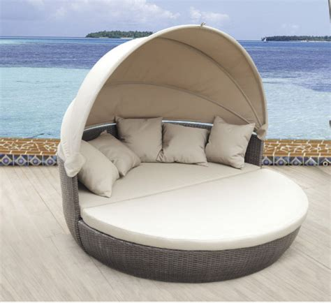 pool couch pool furniture with canopy waterproof sun bed round rattan