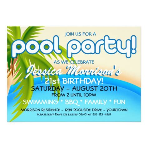 Pool Invitation Card Template by Pool Celebration Invitations Zazzle