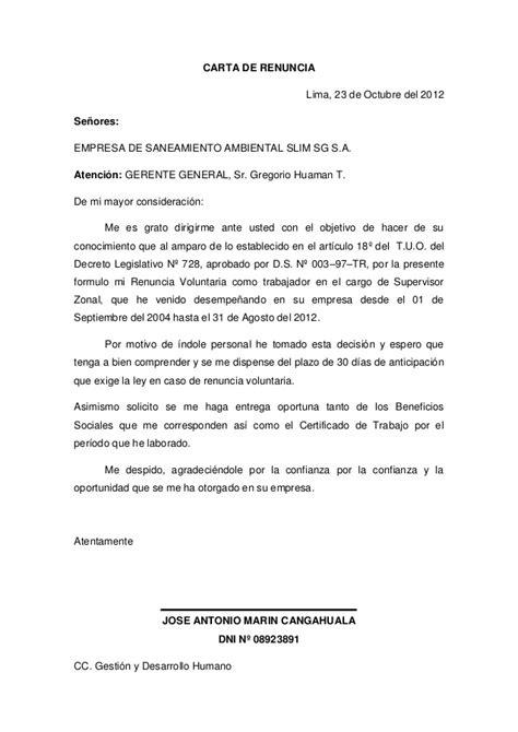 carta de trabajo de gerente carta de renuncia