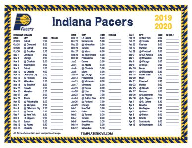 printable   indiana pacers schedule