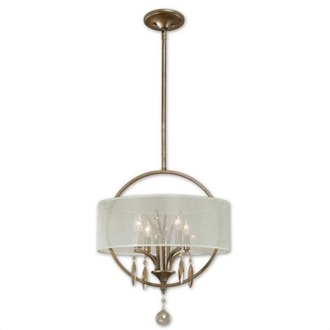 Uttermost Alenya 4 Light Fabric Drum Pendant In Burnished Fabric Pendant Lights