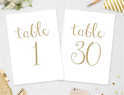 Wedding Table Number Printable 4x6 Instant By | table numbers 1 30 instant download 5x7 4x6