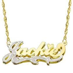 Two Name Necklace 14k Two Tone Gold Personalized Double Plate 3d Name Necklace Style 2 Ebay