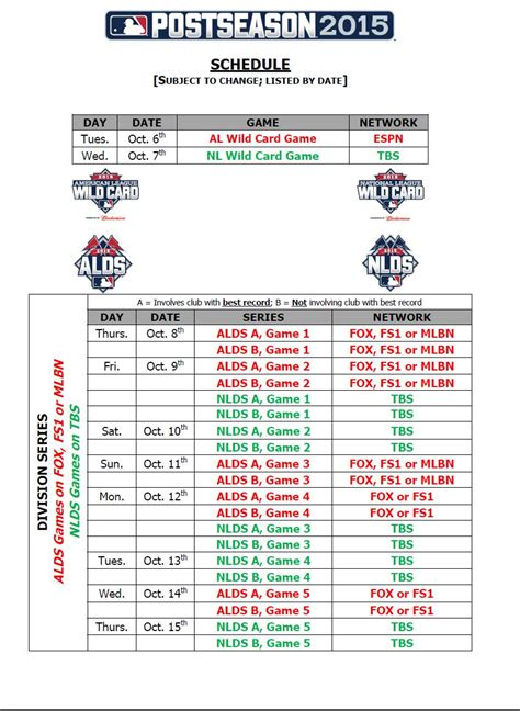 printable mlb schedule 2015 mlb 2015 postseason schedule myideasbedroom com