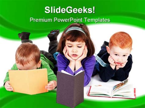 Kids Reading Books Education Powerpoint Template 1110 Children S Book Powerpoint Template