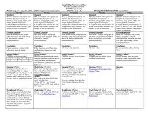 Lesson Plan Template For Math by Math Lesson Plan Template High Schoolsle Hs Math Weekly