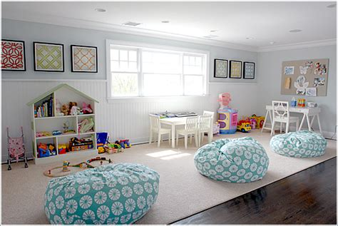 10 amazing playroom design ideas i like the paint color and fabric on the bean bag chairs