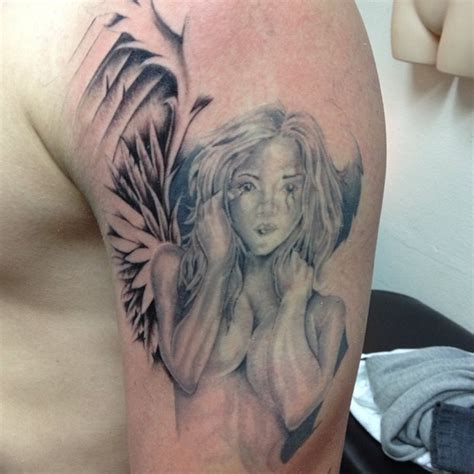 angel shoulder tattoos for men left shoulder grey ink for tattooshunt