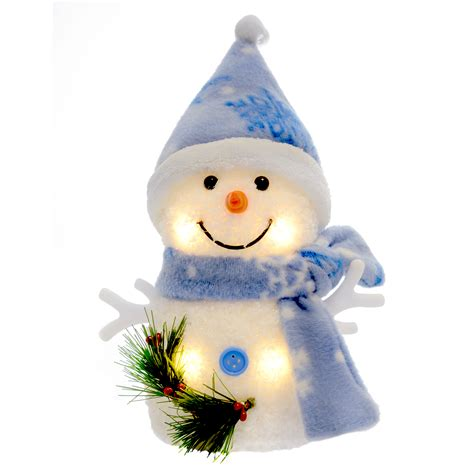 Snowman Decoration White 6 quot warm white light up decoration snowman blue
