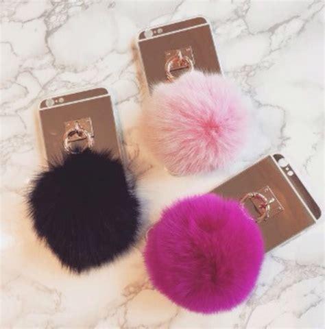 high quality for iphone 6 6s 6plus 6s fox fur 10cm pompom