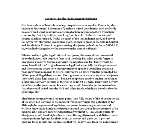 Legalization Of Cannabis Essay by Argument For The Legalization Of Marijuana Gcse Marked By Teachers