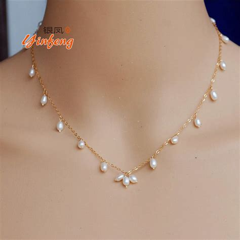 pearls with gold simple fashion and pearl necklace with gold chain