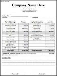 Paycheck Template by Payroll Template Word Excel Formats