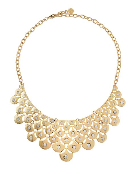 r j graziano metal mesh bib necklace in metallic