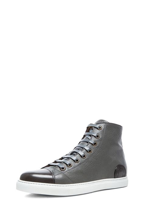 marc sneakers mens marc mens high top leather sneakers in gray for