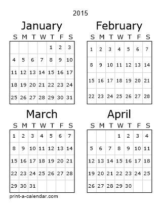 Two Month Printable Calendar 2015