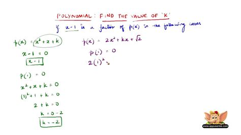 how do you find the value of a boat find the value of k if x 1 is a factor of p x in the