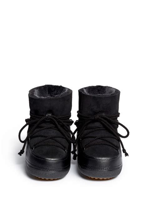 moon boots for lyst ikkii classic suede and shearling moon boots in black