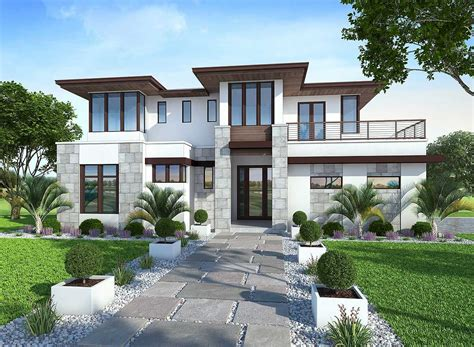house plans with balcony plan 86033bw spacious upscale contemporary with
