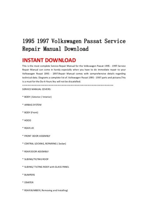 service manual electric and cars manual 1995 volkswagen eurovan on board diagnostic system 1995 1997 volkswagen passat service repair manual download