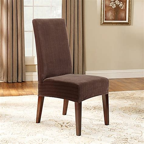 sure fit short dining chair slipcover sure fit 174 stretch pinstripe short dining chair slipcover