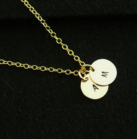 gold 2 initial disc necklace bridesmaid necklace wedding