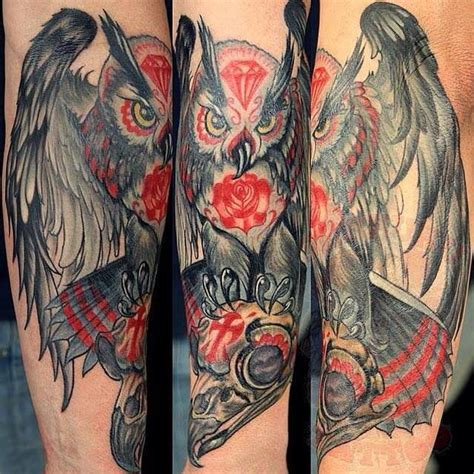 seppuku tattoo johnythief owl skulls seppuku johnny thief skulls