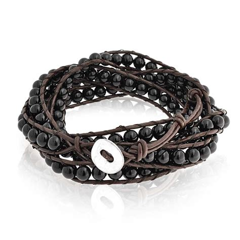 leather jewelry bling jewelry stackable black onyx gemstone brown
