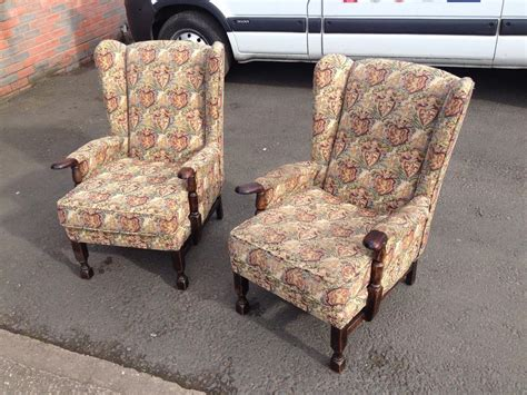 knoll armchairs used pair of vintage wing back fireside armchairs