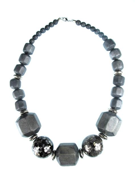 chunky bead necklaces chunky grey necklaces large grey bead necklace
