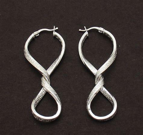 2 1 4 quot figure 8 twisted key hoop earrings real 925