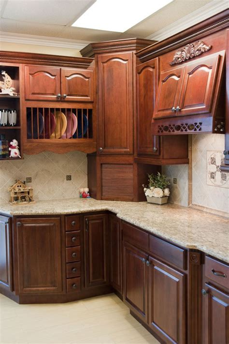 cherry walnut kitchen cabinet photos
