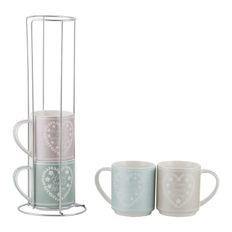 stacking heart mugs with chrome rack