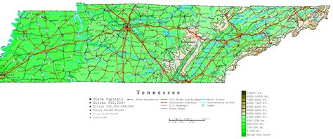 map of tennessee cities tennessee contour map