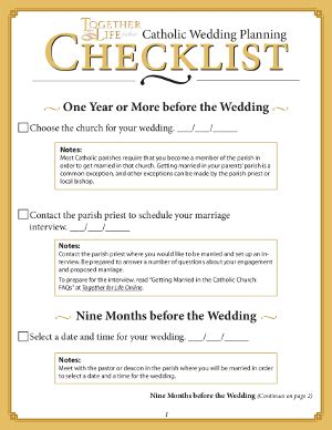 Wedding Checklist Catholic by Wedding Planner Catholic Wedding Checklist