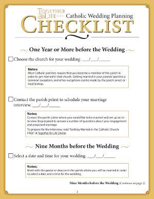 Wedding Checklist Church by Wedding Planner Catholic Wedding Checklist