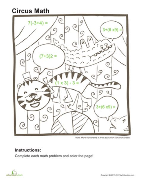 Order Of Operations Coloring Worksheet by 5th Grade Math Practice Review Worksheets Education