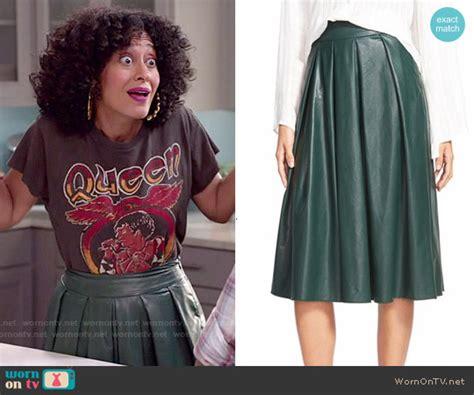 tracee ellis ross lipstick blackish wornontv rainbow s queen tee and green leather midi skirt