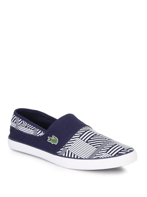 lacoste sneakers mens lacoste printed slipon sneakers in blue for blue