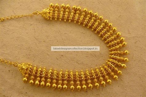 Beautiful Gold Short Necklace for Bridals ~ Latest Indian