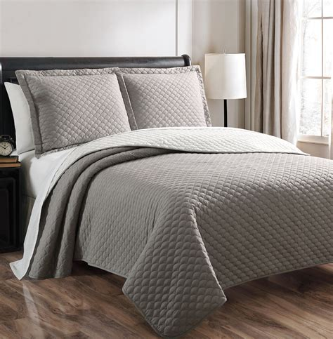 grey coverlet queen demi gray white reversible bedspread quilt set queen ebay