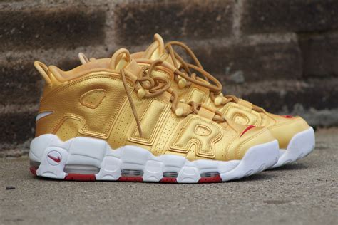 Nike Air More Up Tempo Gold White blue gold mens nike air more uptempo shoes