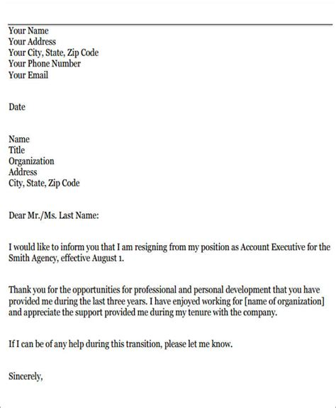Sles Of Resignation Letter For Personal Reasons by Sle Resignation Letters For Personal Reasons 5 Exles In Pdf Word