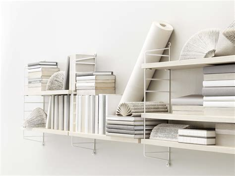 string pocket shelf white ash shelves by string furniture - Etagere 1 50 M